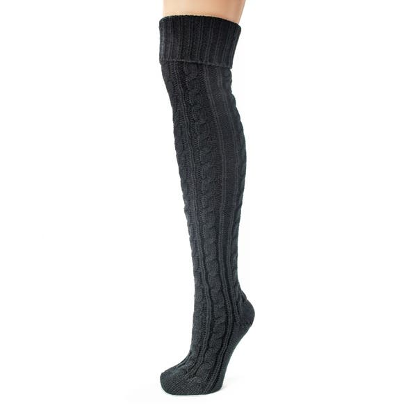 24dcd521a8f Shop Muk Luks Women s Black Cable Knit Over the Knee Socks - Free ...