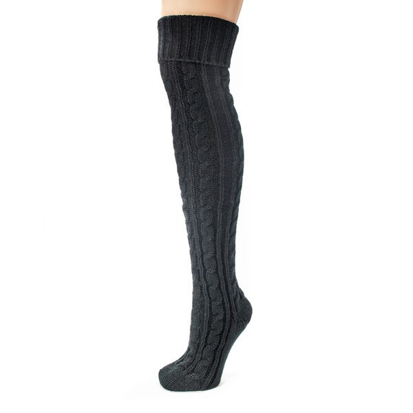 Ladies 1 OR 3 Pack Plain Cable Knitted Over Knee Socks
