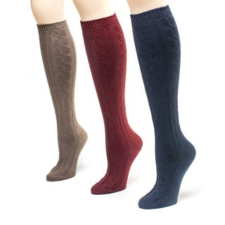 Muk Luks Women's Americana Microfiber Knee High Socks (Pack of 3)