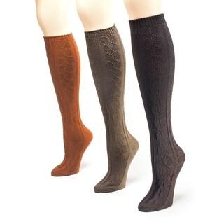 Muk Luks Women's Safari Microfiber Knee High Socks (Pack of 3)