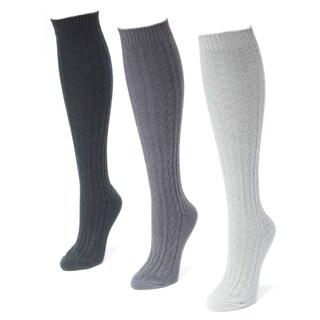 Muk Luks Women's Shades of Grey Microfiber Knee High Socks