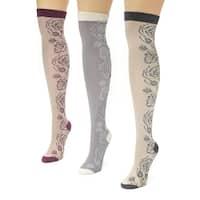 Muk Luks Women's Multi Floral Over the Knee Microfiber Socks (Pack of 3)