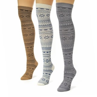 Muk Luks Women's Multi Snowflake Print Over the Knee Microfiber Socks (Pack of 3)
