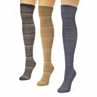 Muk Luks Women's Multi Knit Over the Knee Microfiber Socks (Pack of 3)