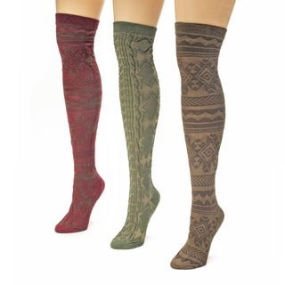 Muk Luks Women's Multi Print Over the Knee Microfiber Socks (Pack of 3)