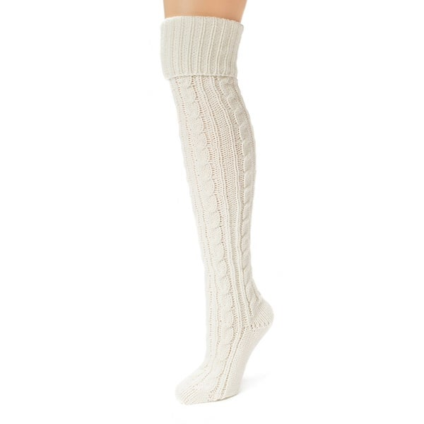 49f5cadff97 Shop Muk Luks Women s Ivory Cable Knit Over the Knee Socks - Free Shipping  On Orders Over  45 - Overstock - 10401295