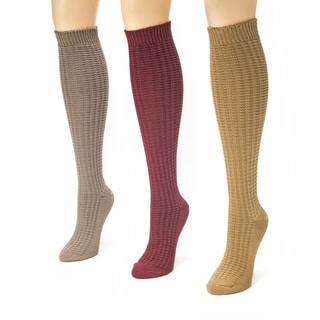 Muk Luks Women's 3 Pair Waffle Knee High Socks