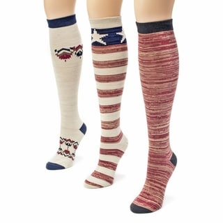 Muk Luks Women's Americana Knee High Socks (Pack of 3)