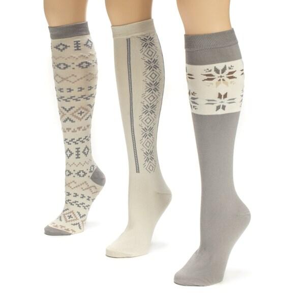 Muk Luks Women's Winter White Knee High Socks (Pack of 3)