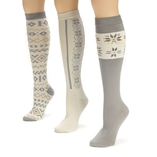 Muk Luks Women's Winter White Knee High Socks (Pack of 3)
