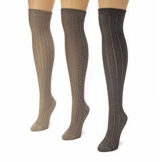 Muk Luks Women's Over the Knee Textured Socks (Pack of 3)