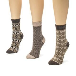 Muk Luks Women's Brown Holiday Crew Sock (Pack of 3)