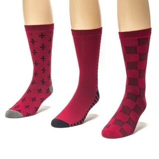 Muk Luks Men's Red/ Black Crew Socks (Pack of 3)