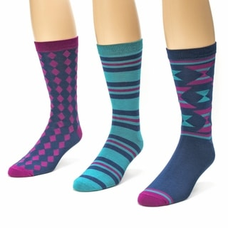 Muk Luks Men's Blue/ Pink Crew Socks (Pack of 3)