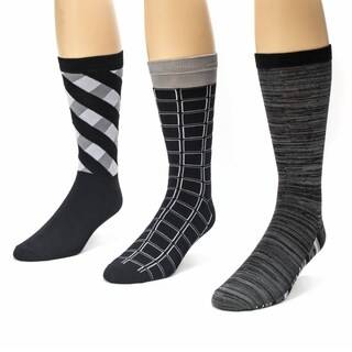 Muk Luks Men's Black/ Grey Crew Socks (Pack of 3)