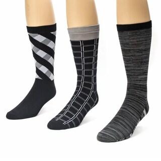 Muk Luks Men's Black/ Grey Crew Socks (Pack of 3)