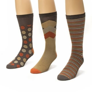 Muk Luks Men's Brown/ Orange Crew Socks (Pack of 3)