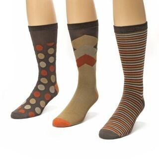Muk Luks Men's Brown/ Orange Crew Socks (Pack of 3)