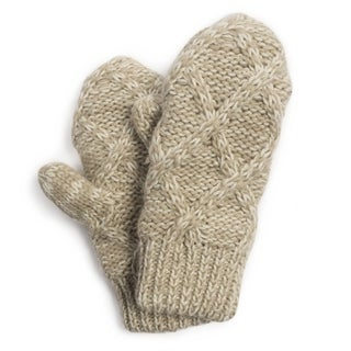 Muk Luks Women's Vanilla Textured Diamond Potholder Mittens