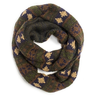 Muk Luks Women's Dark Green Chunky Fairisle Eternity Scarf