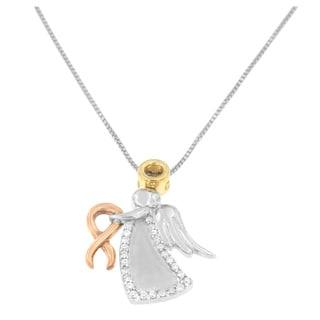 10k Tri-Color Gold 1/6ct TDW Round Diamond Angel Pendant (H-I, I1-I2)