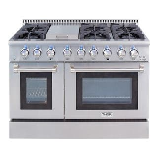 Thor Kitchen 48-inch Stainless Steel Professional Gas Range with 6 burners and Griddle|https://ak1.ostkcdn.com/images/products/10401399/P17503495.jpg?impolicy=medium