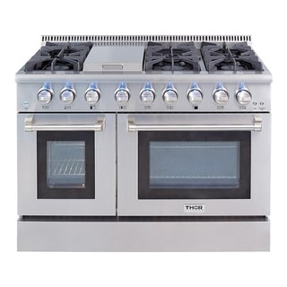 Thor Kitchen Stainless Steel 48 Inch 6 Burner Professional Gas Range And  Griddle