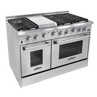 thor kitchen 48inch stainless steel gas range with 6 burners and griddle