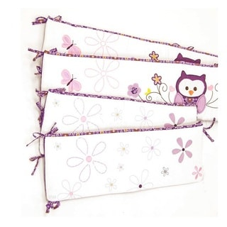Baby's First Plum Owl Meadow 4-piece Crib Bumper