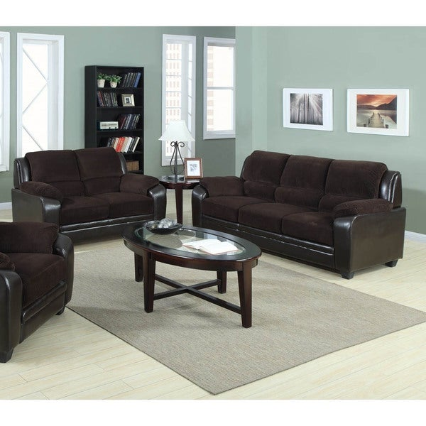 Jagger 2 Piece Corduroy Fabric With Pu Leather Sofa Loveseat Set
