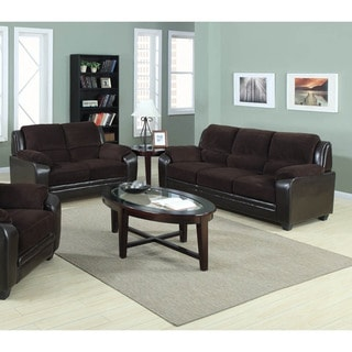 Jagger 2-piece Corduroy Fabric with PU Leather Sofa Loveseat Set