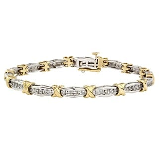 14kt TT Diamond Hugs and kisses bracelet