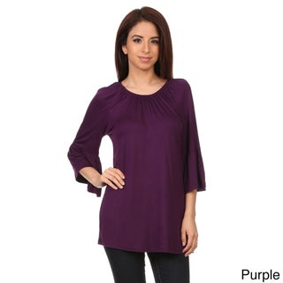 MOA Collection Women's Solid-colored Kimono Sleeve Tunic Top (3 options available)