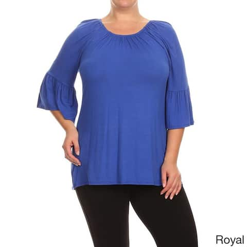 MOA Collection Women's Solid-colored Kimono Sleeve Tunic Top