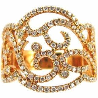 Kabella Luxe 18k Rose Gold Diamond Filigree Fashion Ring (Size 6.5)