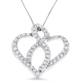14k White Gold 1ct TDW Round Diamond Heart Ribbon Pendant (H-I, I1-I2)