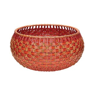 Dimond Home Large Fish Scale Red and Orange Basket