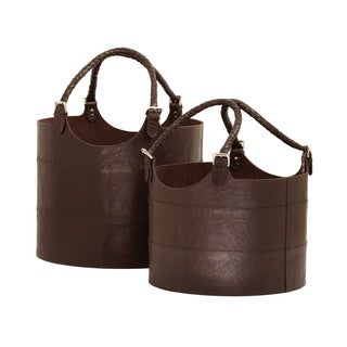 Dimond Home Nested Espresso Leather Buckets (Set of 2)