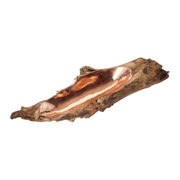 Dimond Home Short Copper Insert Teak Root Bowl