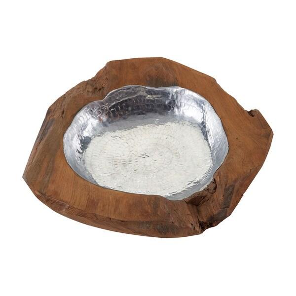 Dimond Home Small Round Aluminum Teak Bowl