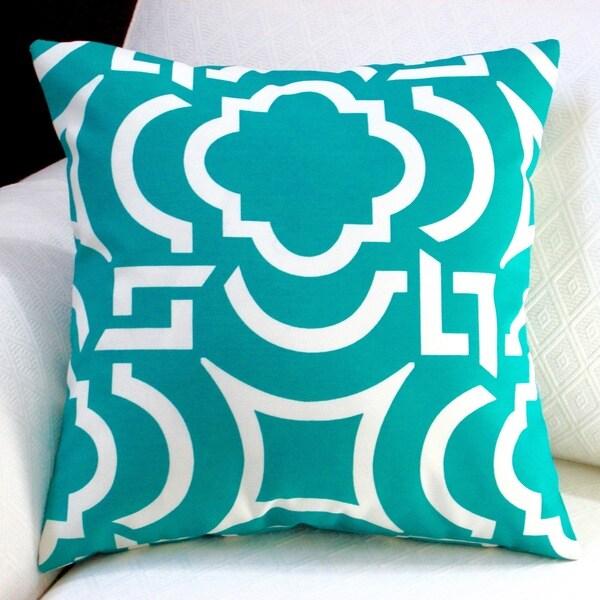 Artisan Pillows Outdoor 18 inch Teal Modern Geometric