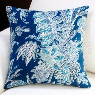 Artisan Pillows Indoor/ Outdoor 18-inch Tommy Bahama Fabric Beach Floral in Navy Blue Modern Coastal Throw Pillow (Set of 2)