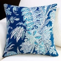 Artisan Pillows Indoor/ Outdoor 18-inch Beach Floral in Navy Blue Modern Coastal Throw Pillow (Set of 2)