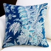 Artisan Pillows Indoor/ Outdoor 18-inch Beach Floral in Navy Blue Modern Coastal Throw Pillow (Set of 2)