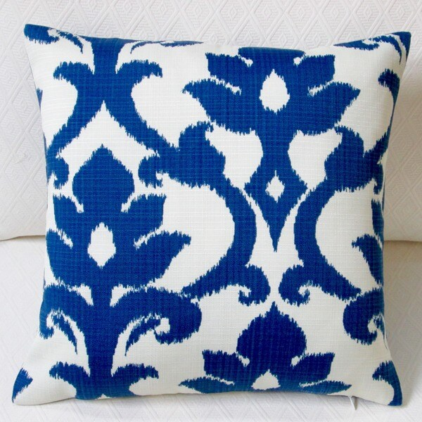 Pillows Outdoor 18 Inch Basalto Navy Blue Modern Geometric Coastal Decor Throw Pillow