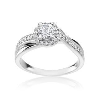 SummerRose 14k White Gold 3/4ct TDW Diamond Halo Ring