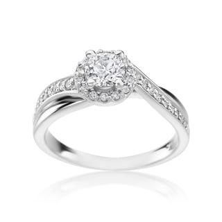 SummerRose 14k White Gold 3/4ct TDW Diamond Halo Ring (H-I, SI1-SI2)