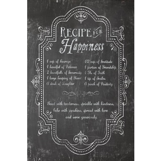 Portfolio Canvas Decor Corinne Haig 'Recipe for Happiness Chalkboard' 24x36 Framed Canvas Wall Art