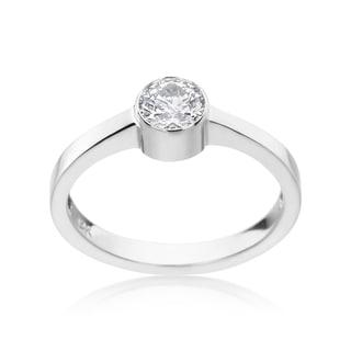 SummerRose 14k White Gold 1/2ct TDW Diamond Bezel Ring (H-I, SI1-SI2)