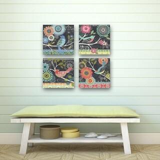 Portfolio Canvas Decor Jennifer Brinley 'Chalk Bird Blue' 12x12 Framed Canvas Wall Art (Set of 4)